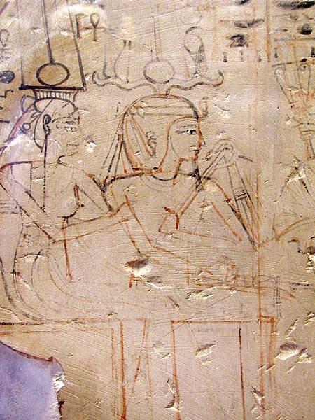 Изоьражение на стене гробницы со следами правки
