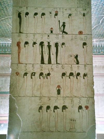 Роспись на стенах гробницы Тутмоса III